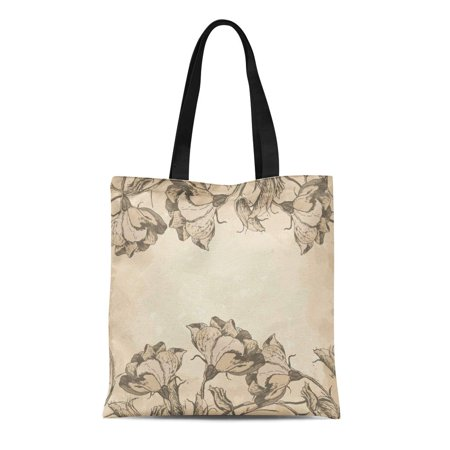 SIDONKU Canvas Tote Bag French Floral Border in Vintage Old Engraving Flowers Antique Durable Reusable Shopping Shoulder Grocery Bag
