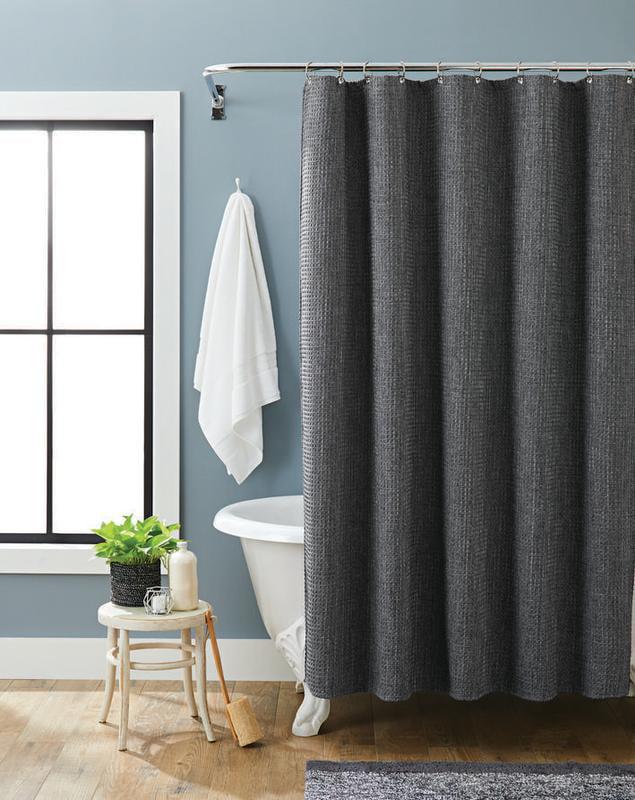 better homes gardens waffle weave fabric shower curtain 72 x 72 grey walmart com