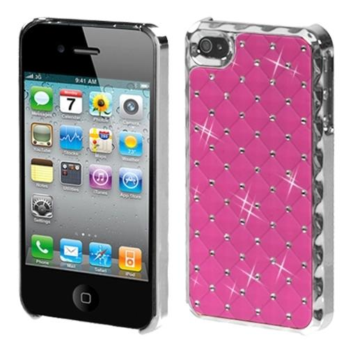 Insten Pink Silver Dazzling Back Casew/Diamonds (w/Package) For iPhone 4 4S