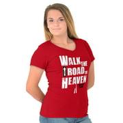 Jesus Junior V-Neck T-Shirts Tee Tshirts Road To Heaven Christian Religious