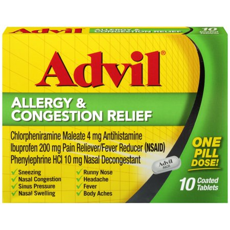 Sinus Tablet Vitamins - Advil Allergy & Congestion Relief (10 Count) Pain Reliever / Fever Reducer Coated Tablet, 200mg Ibuprofen, Sneezing, Nasal Decongestant, Sinus Pressure