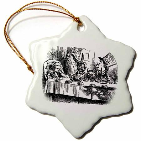 3dRose Mad Hatter tea party illustration by John Tenniel. Alice in Wonderland, Snowflake Ornament, Porcelain,
