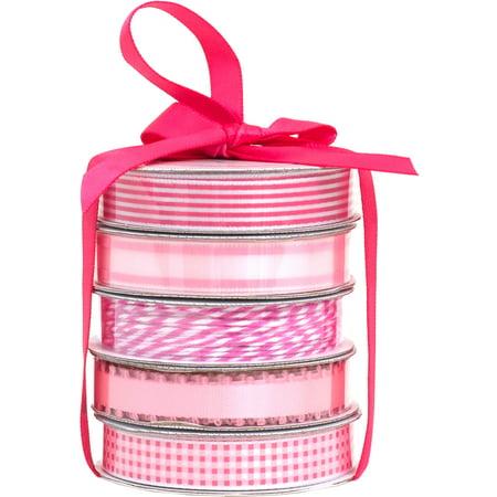 American Crafts Premium Ribbon & Twine 5-Packs-Spring Pink