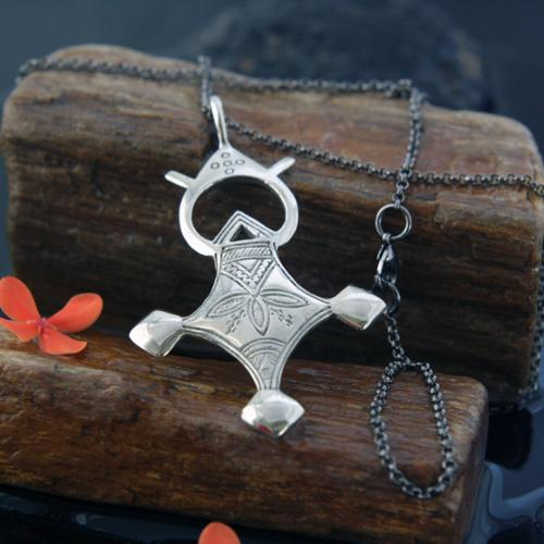 Spirit Handmade Four Directions Antiqued White Brass Tuareg Cross Pendant Necklace (Indonesia)