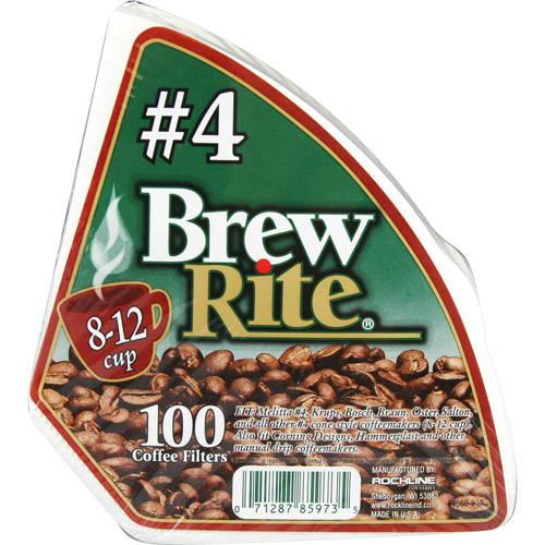 Brew Rite #4 Cone Coffee Filter, 100-Count