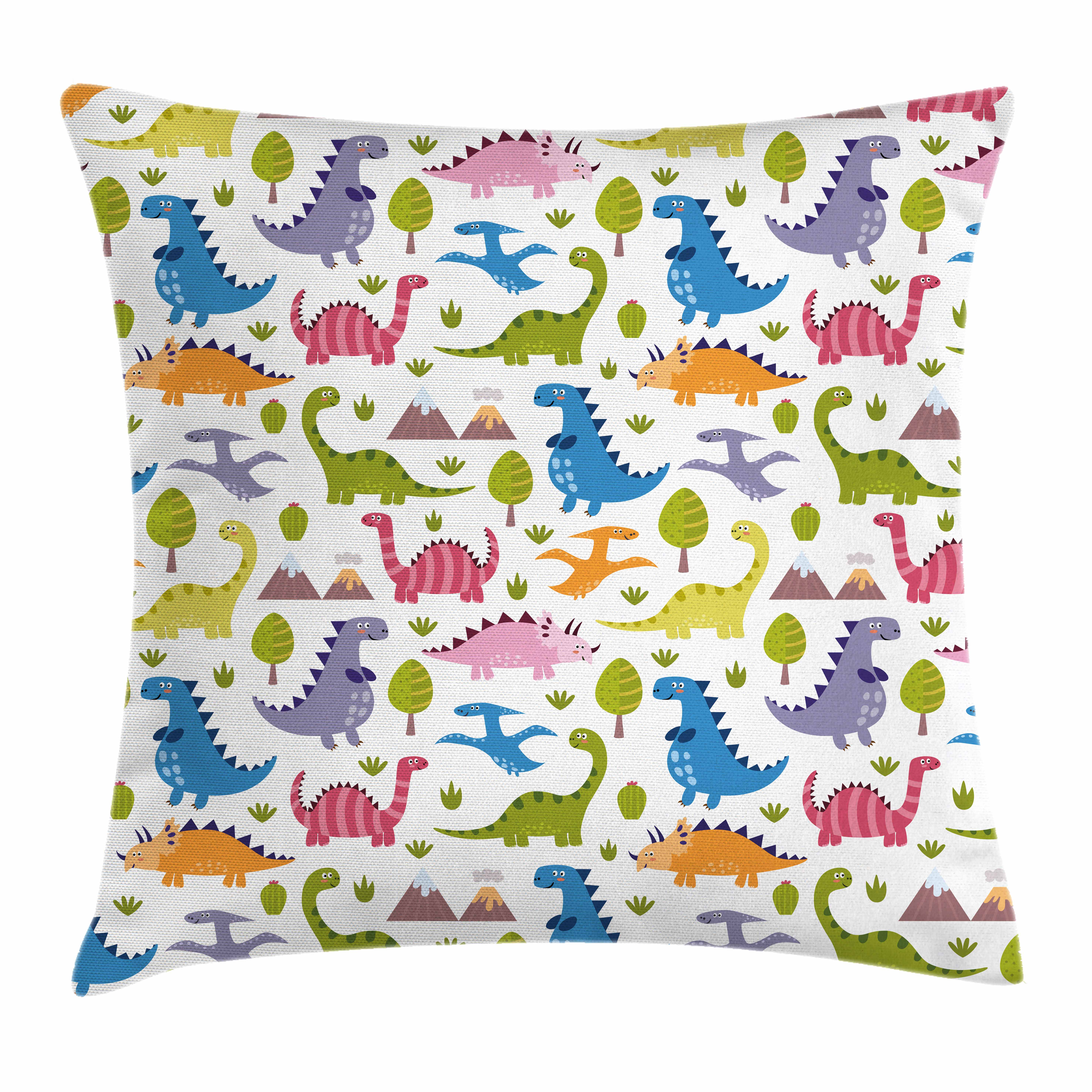 Kids Throw Pillow Cushion Cover, Cartoon Style Colorful Lovely Dinosaurs T-Rex Triceratops Prehistoric Reptile Wildlife, Decorative Square Accent Pillow Case, 18 X 18 Inches, Multicolor, by Ambesonne