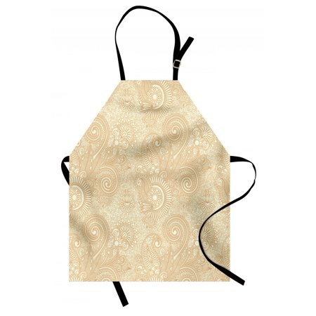 4a Revival Kitchen (Henna Apron Retro Nature Revival Pattern with Lotus Mandala Inspired Elements Spirals Curls, Unisex Kitchen Bib Apron with Adjustable Neck for Cooking Baking Gardening, Pale Brown Ivory, by)