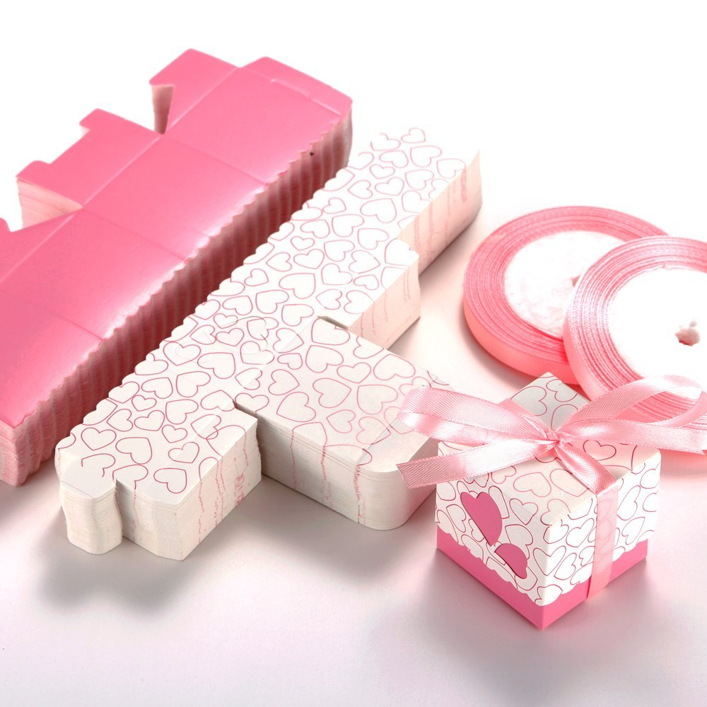 100 Wedding Favour Candy Boxes Party Gift Boxes With Ribbons (Pink ...