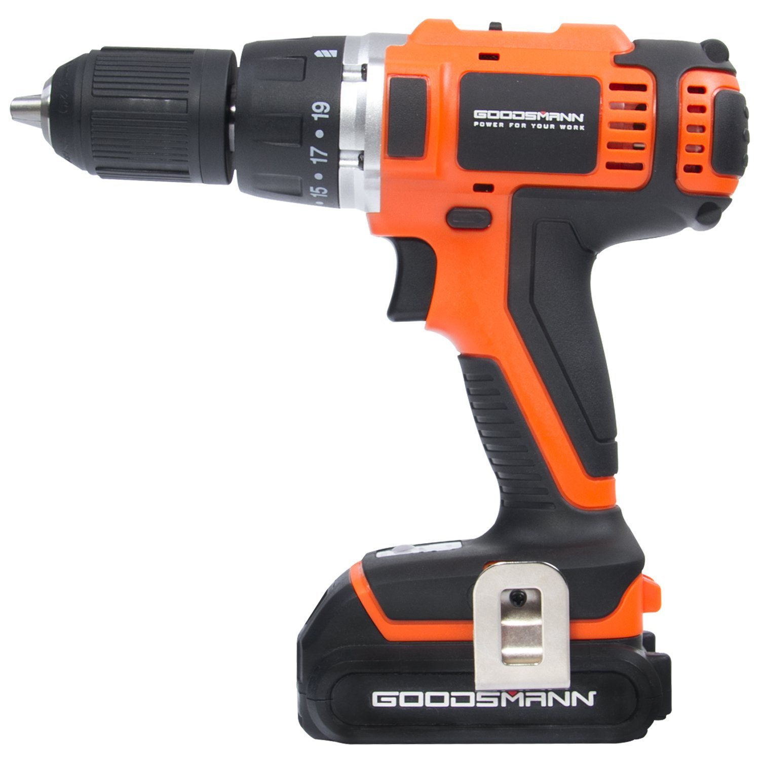 GOODSMANN 18V Li-ion Battery Cordless Drill/Driver Electric Drill Screwdriver with 2200 mAh Battery, 2-Speeds 1400RPM 19+1 Position Keyless Clutch with LED Light, Compact Drill Driver Kit 9923-1013-01