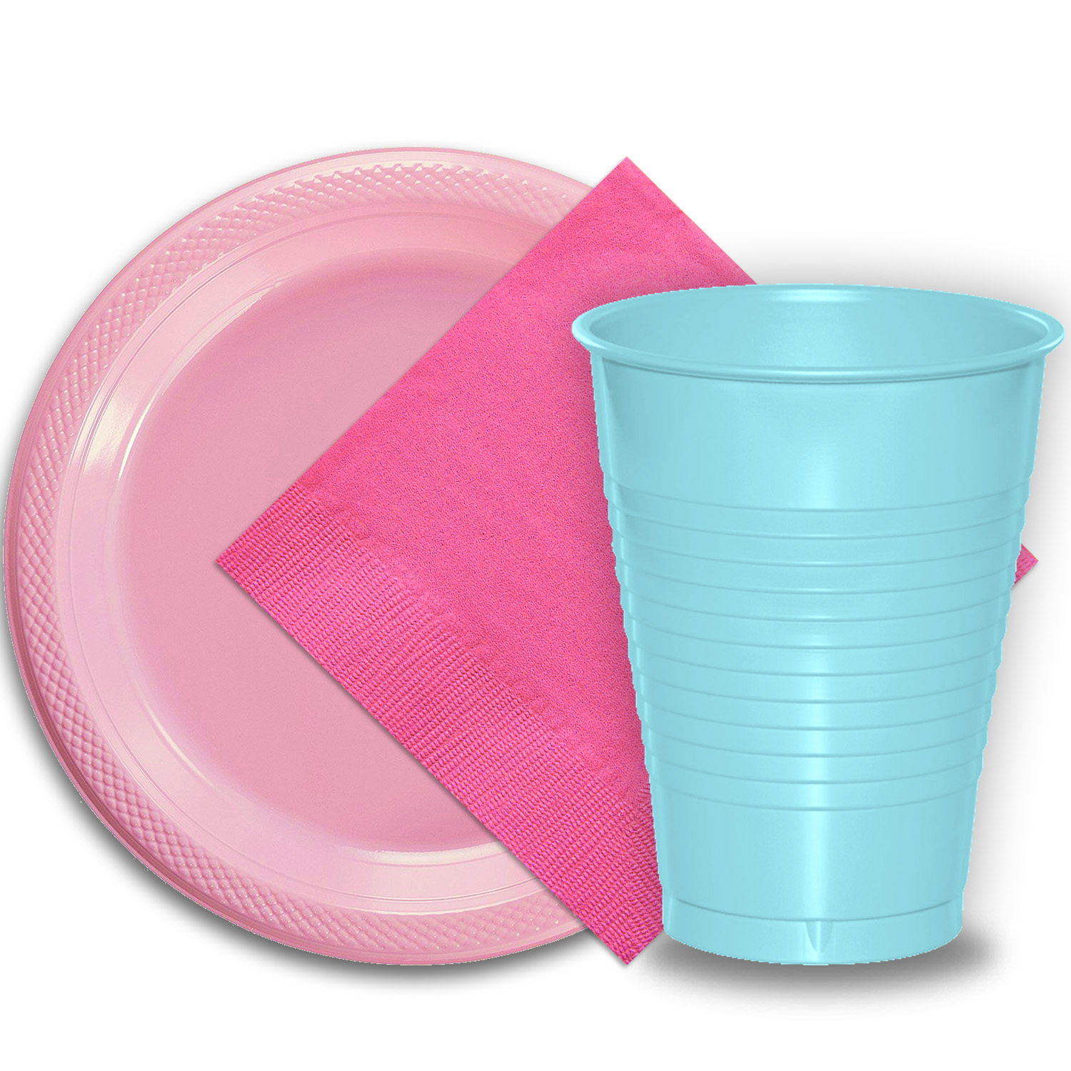 "50 Pink Plastic Plates (9""), 50 Light Blue Plastic Cups (12 oz.), and 50 Hot Pink Paper Napkins, Dazzelling Colored Disposable Party Supplies Tableware Set for Fifty Guests."