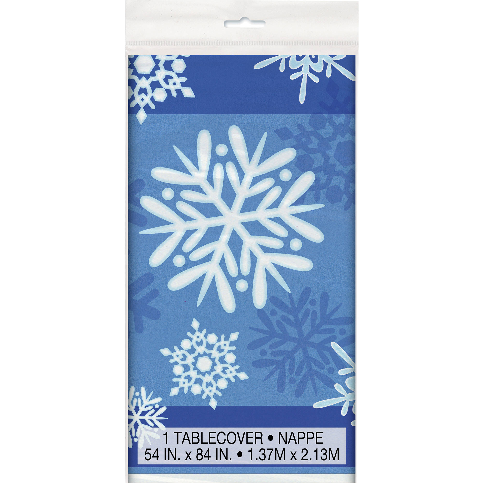 "Plastic Winter Snowflake Holiday Table Cover, 84"" x 54"""