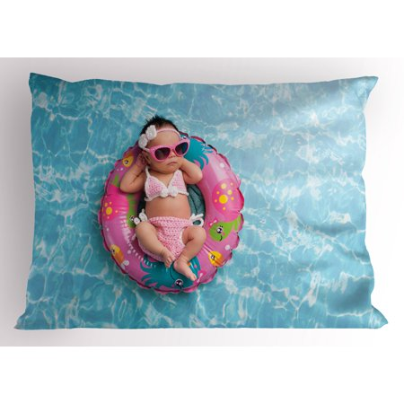 Baby Pillow Sham Nine Days old Girl Sleeping on Tiny Inflatable Ring Crocheted Bikini Sunglasses, Decorative Standard Size Printed Pillowcase, 26 X 20 Inches, Tan Multicolor, by Ambesonne - Tiny Bikinies