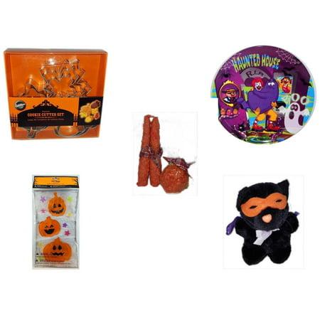 Halloween Fun Gift Bundle [5 Piece] - Wilton Autumn 8-Piece Cookie Cutter Set - McDonald's Haunted House, RIP, Boo  Plate - Autumn Orange-spice Candles Set of 3 - Gel Clings Pumpkins, Stars - Manley