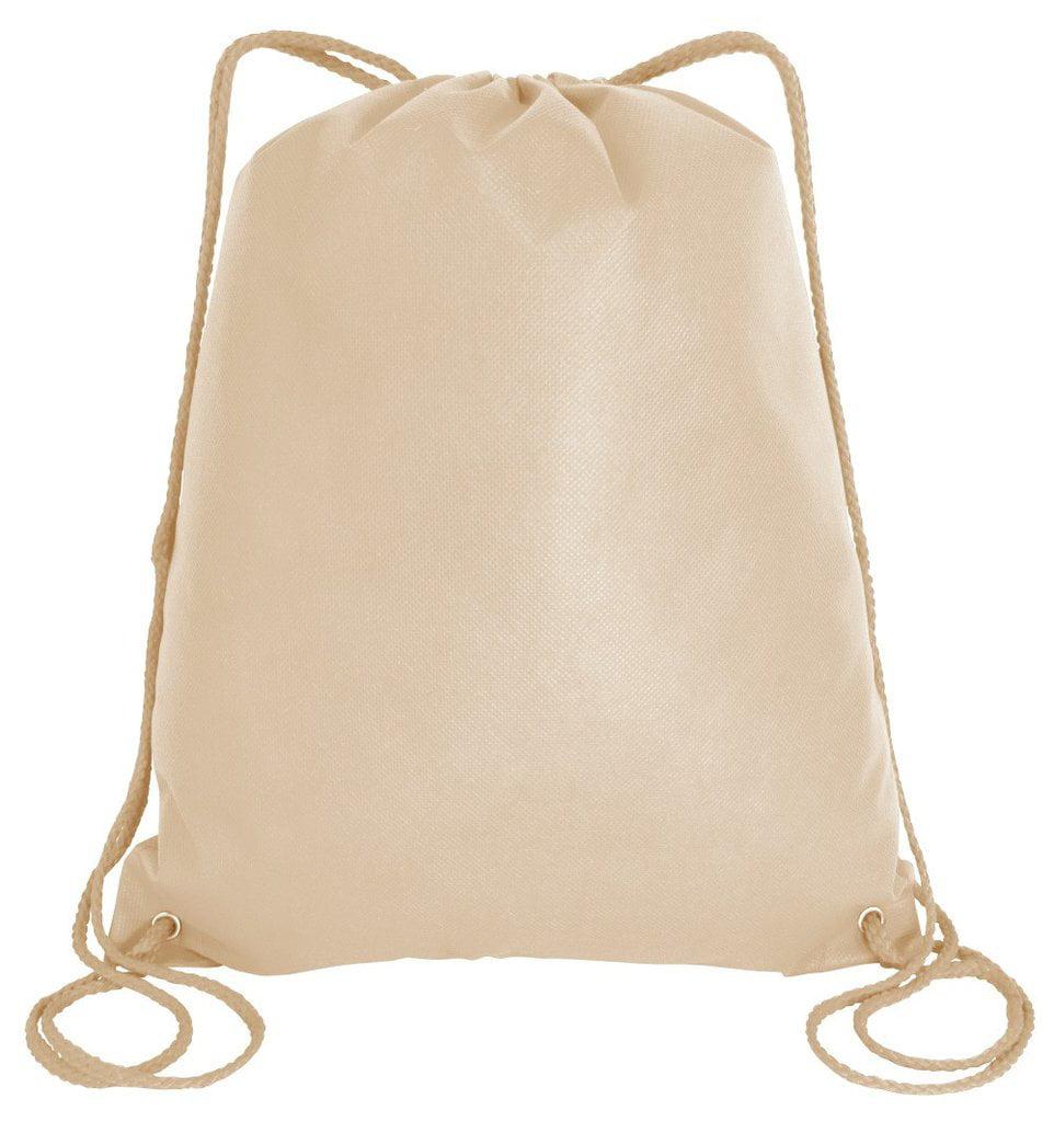 Large Drawstring Backpack Gym Sack Bag Foldable Cinch Bag Sport, Travel Shopping (25, Khaki)