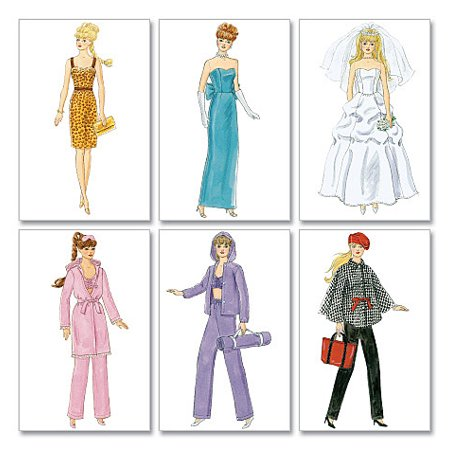 McCall's Pattern Fashion Clothes For 11 Doll, 1 Size Only - Halloween Doll Patterns