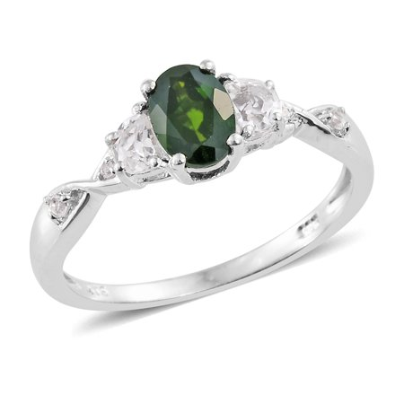 Diopside  White Topaz Platinum Plated Silver Ring