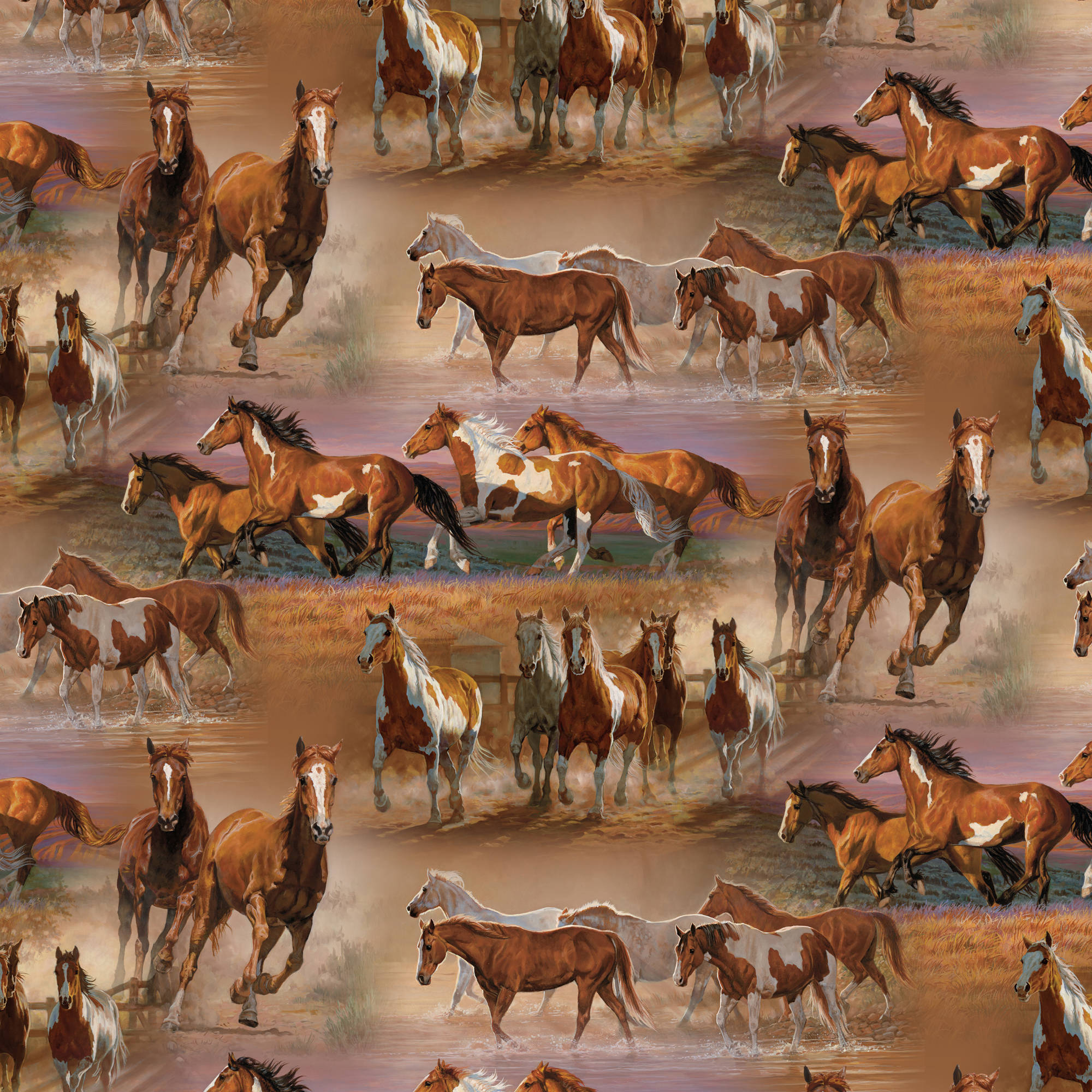 Horses In The Field Quilting Cotton Fabric By The Yard, 44""