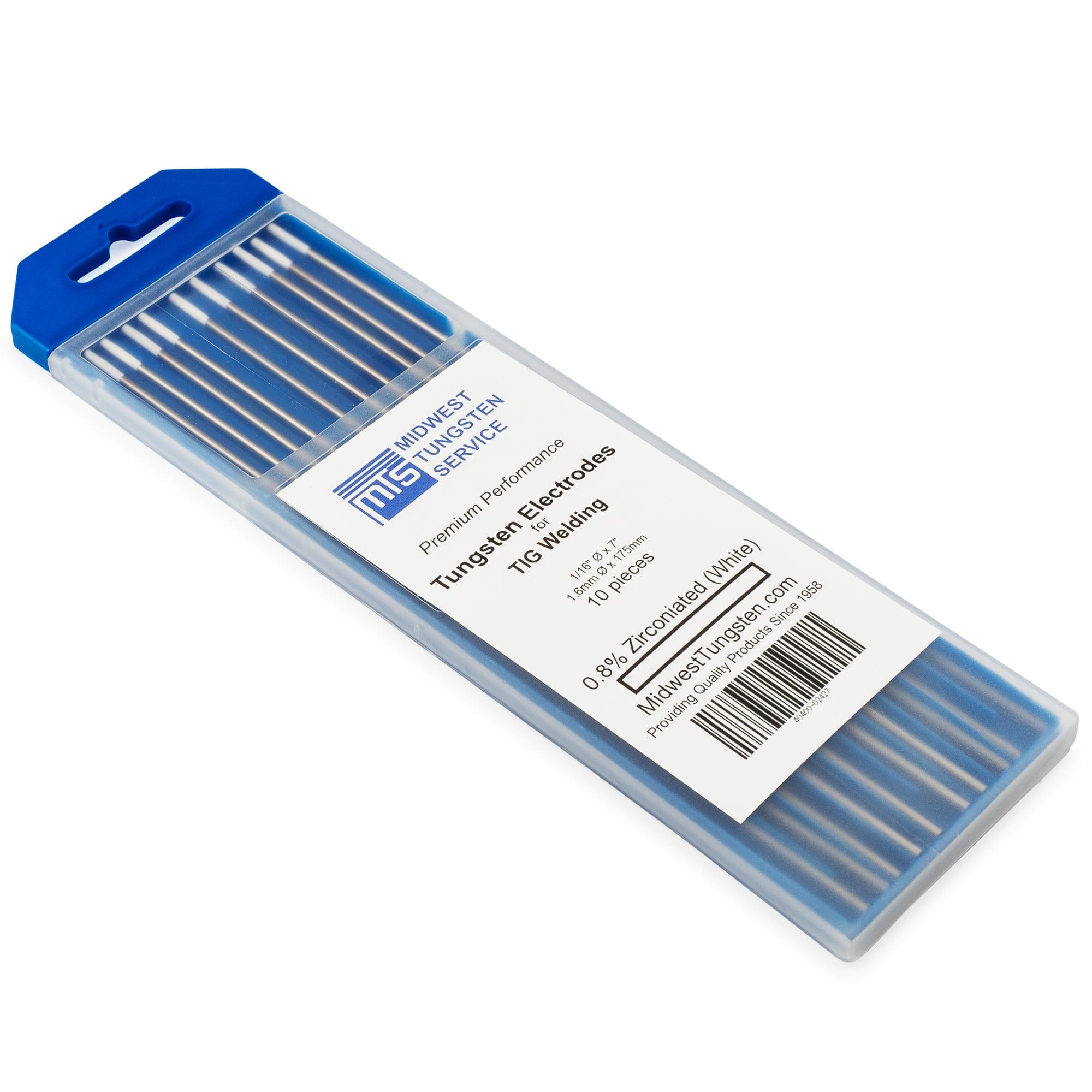 """TIG Welding Tungsten Electrodes 0.8% Zirconiated 1/16"""" x 7"""" (White, WZ8) 10-Pack"""