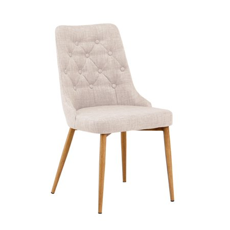 Best Master Furniture Terra Beige Fabric with Beech Wood Leg Dining Chairs, Set of