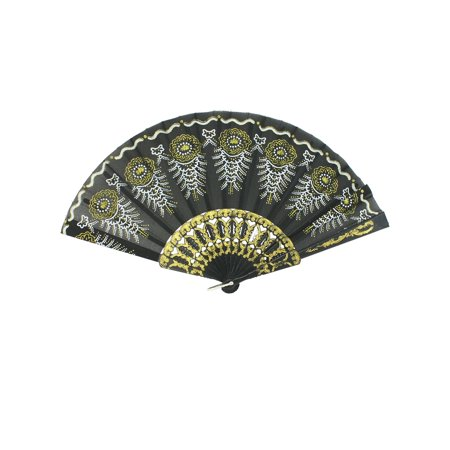 Unique Bargains Floral Pattern Gold Tone Stamp Plastic Frame Dancing Hand Fan Black](Plastic Hand Fan)