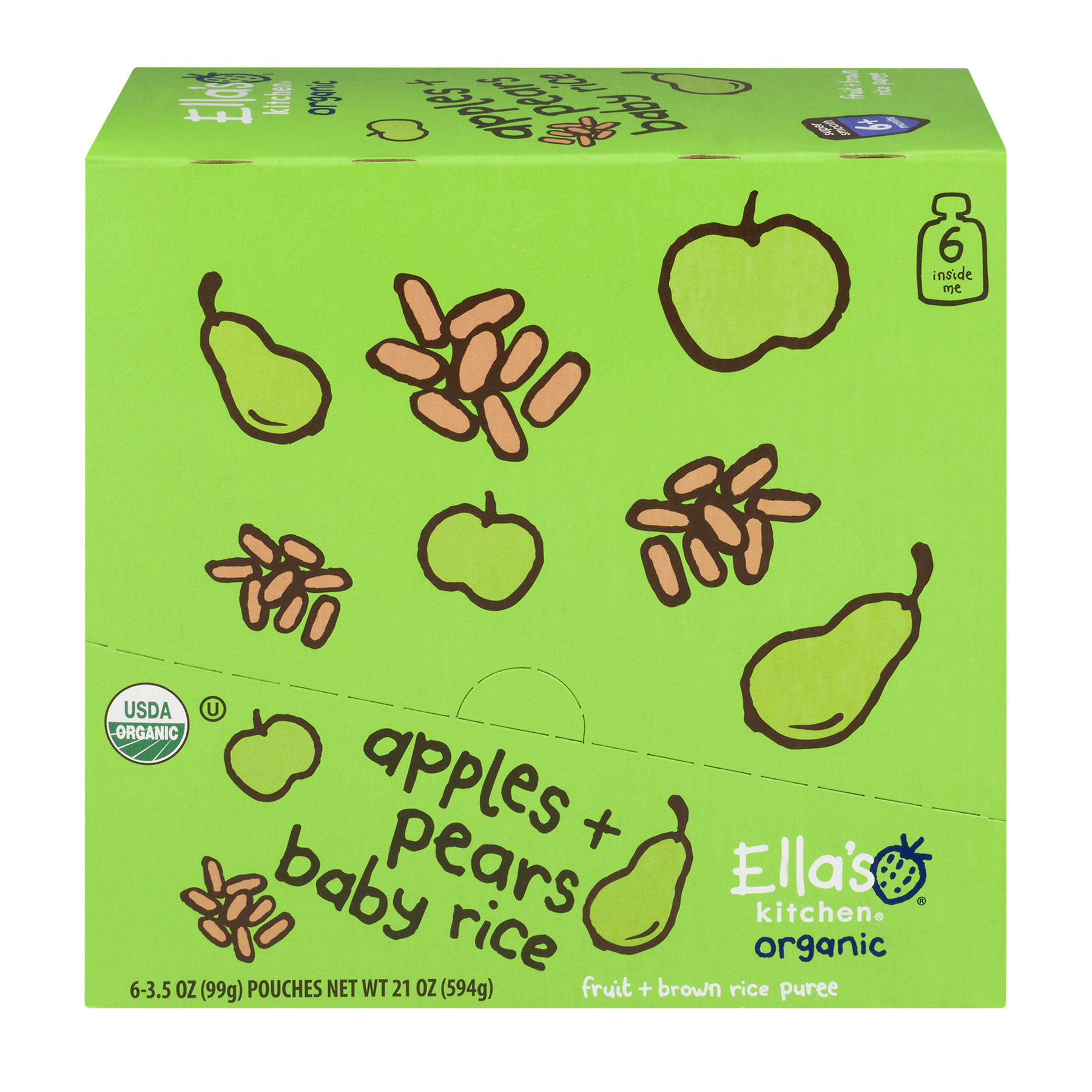 Ella's Kitchen Organic Baby Food Organic Apples + Pears Baby Rice 6+ Months, 6 Pack