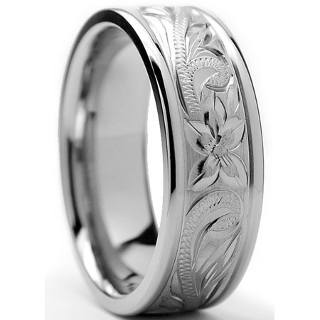 Men's 8MM Titanium Ring Wedding Band With Engraved Floral Design Sizes 7 to 13