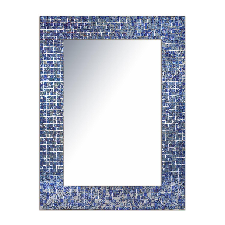 """DecorShore 30"""" X 24"""" Lapis Blue Glass Mosaic Tile Framed"""
