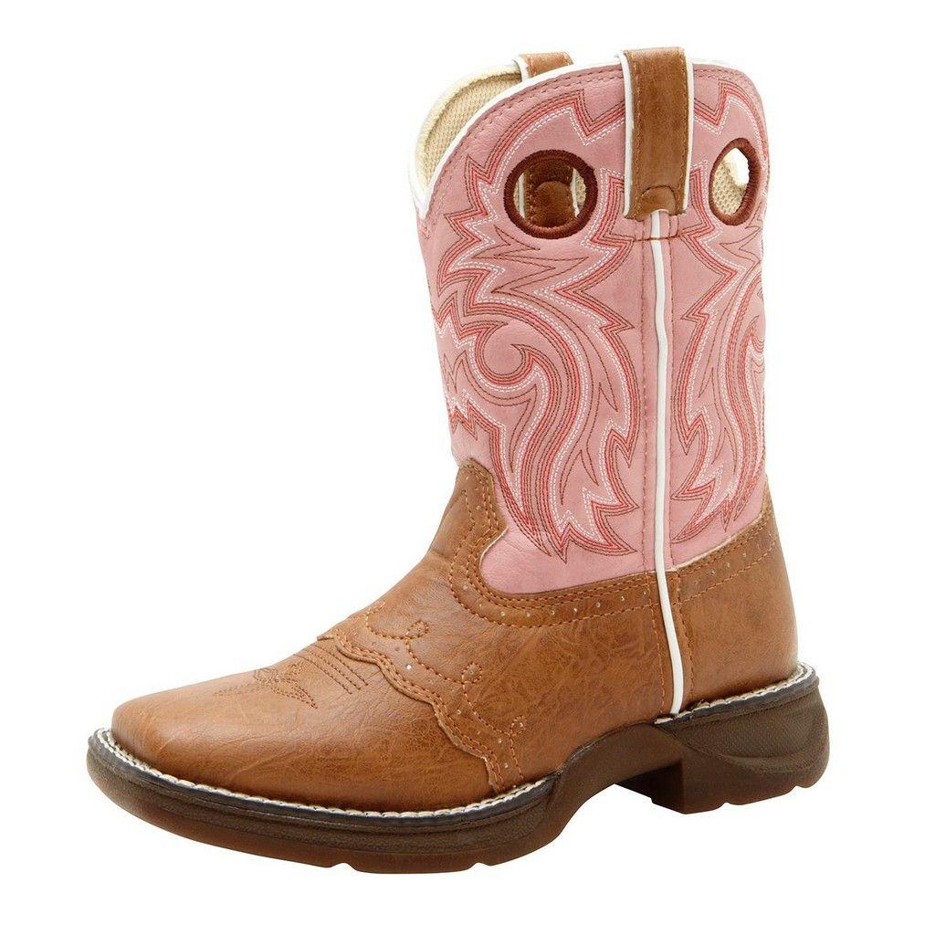 "Image of Durango Western Boots Girls 8"" Lacey Cowboy Heel Stitch Tan Pink BT287"