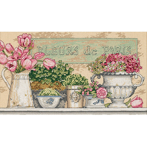 "Dimensions ""Flowers Of Paris"" Counted Cross Stitch Kit, 14"" x 8"""