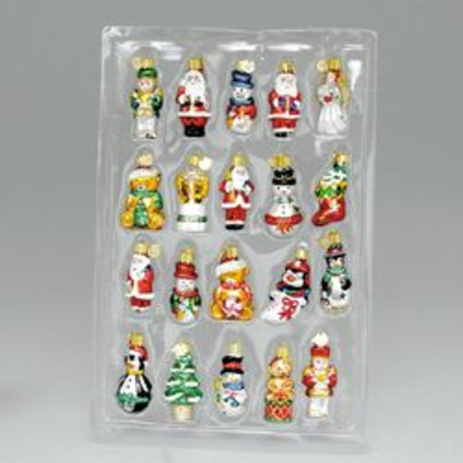 Club Pack of 120 Boxed Gift Set Handcrafted Miniature Glass Christmas Ornaments