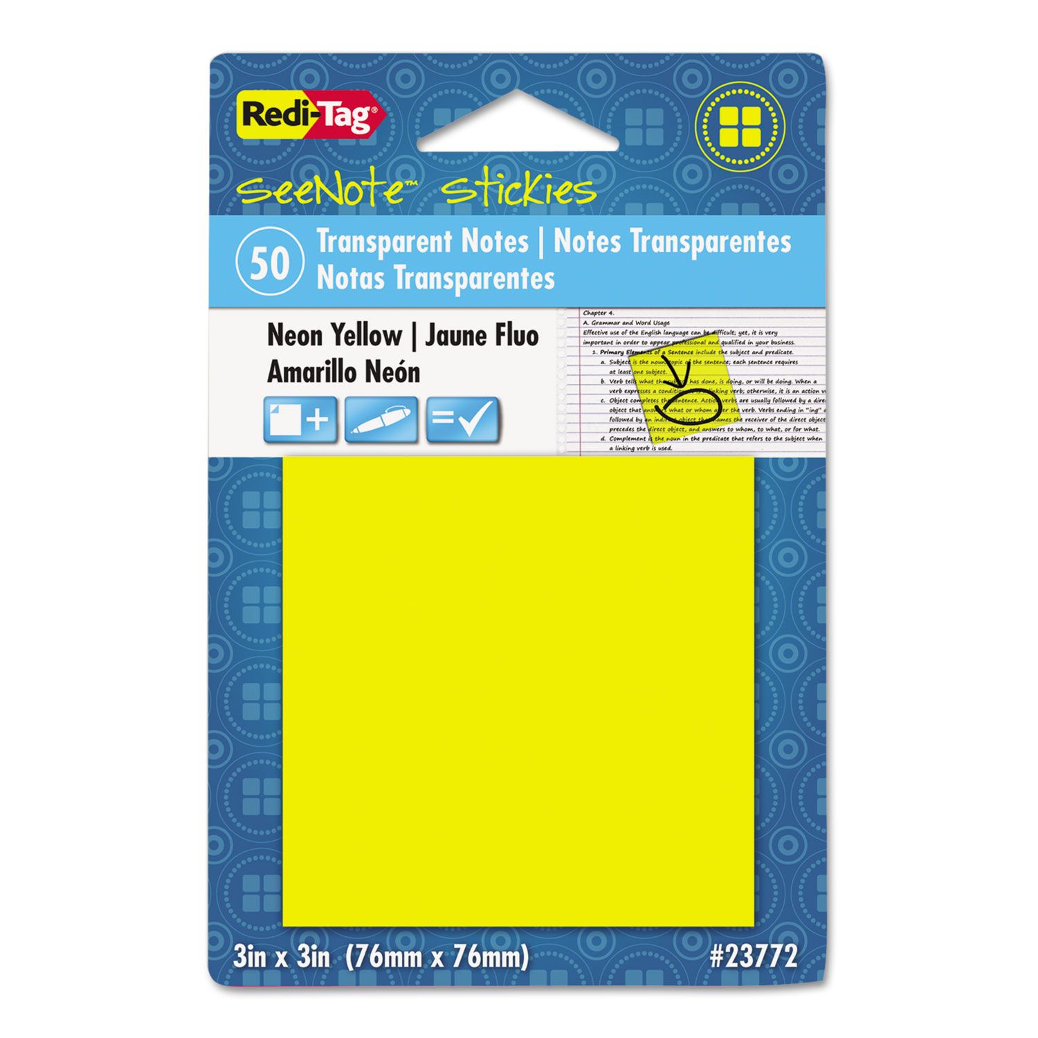 Transparent Film Sticky Notes, 3 x 3, Neon Orange, 50-Sheets/Pad