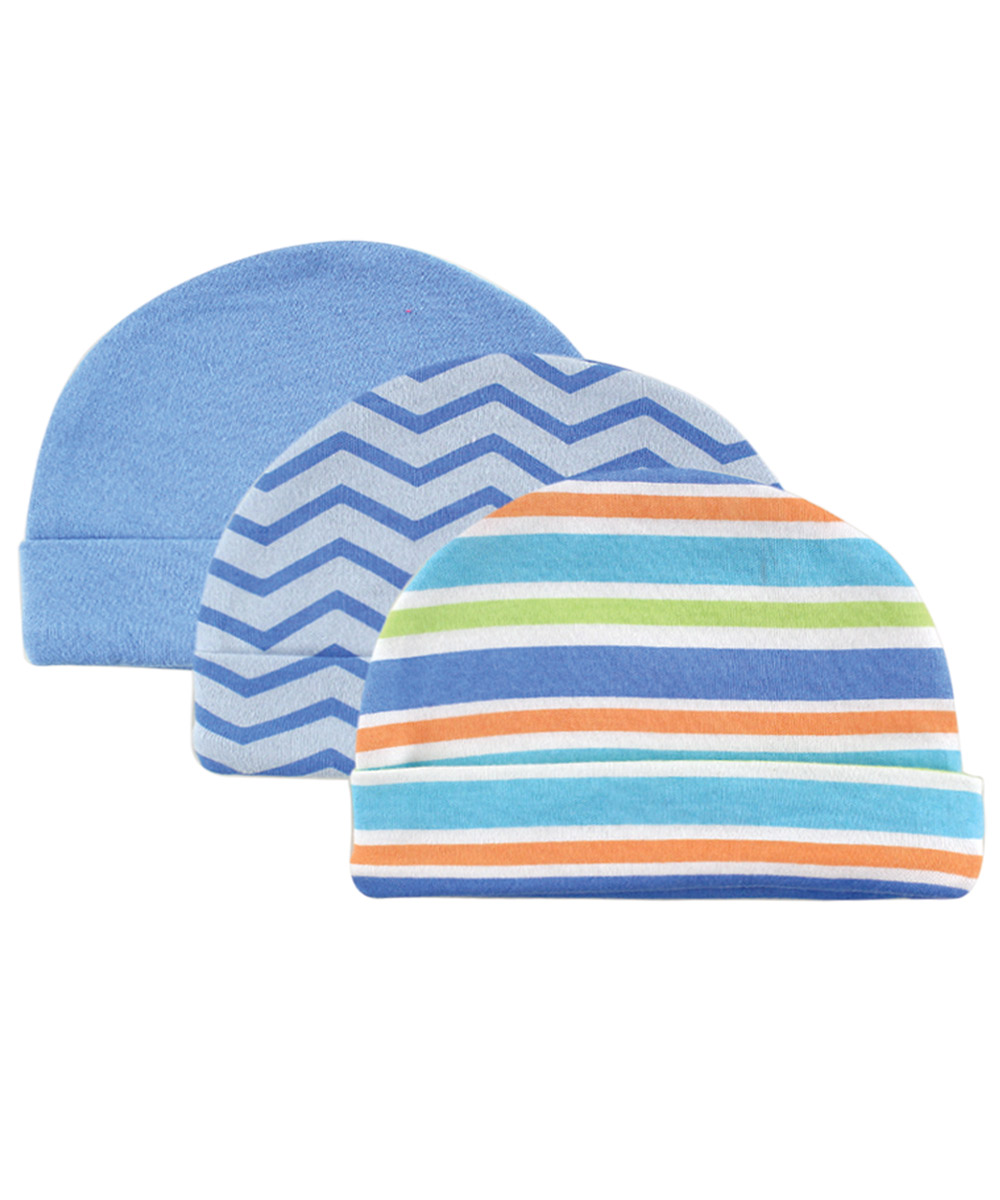 "Luvable Friends ""Stripes & Zigzags"" 3-Pack Caps"