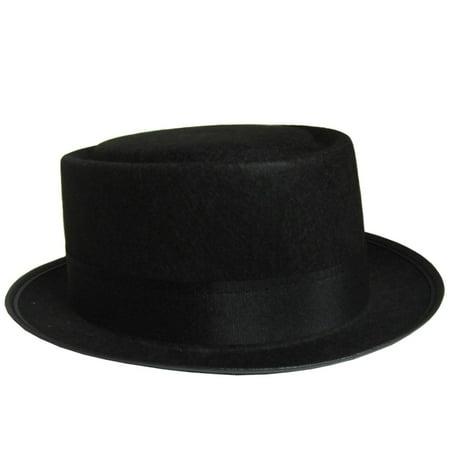 3375f0713cc7b Walter White Black Pork Pie Hat Heisenberg Costume Breaking Bad Fedora Flat  Top - image 1 ...