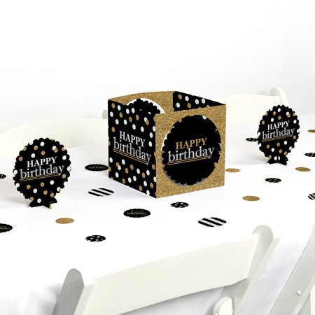 Adult Happy Birthday - Gold - Birthday Party Centerpiece & Table Decoration Kit - Birthday Centerpiece Ideas For Adults