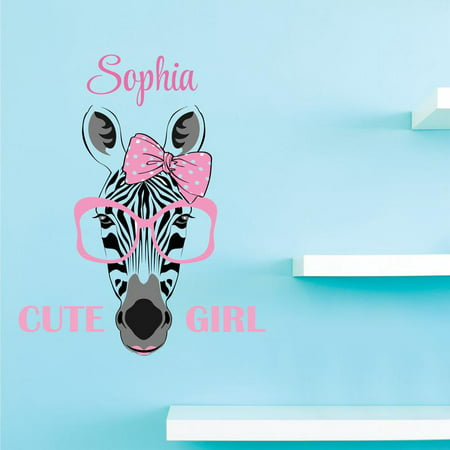 Personalized Name Vinyl Decal Sticker Custom Initial Wall Art Girls Cute Zebra Decor 16 Inches X 25 Inches