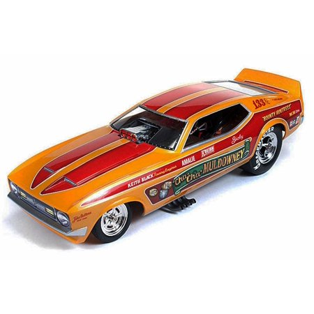 1972 Cha - Cha Muldowney Ford Mustang NHRA Funny Car, Orange w/ Red Stripes - Auto World Legends - 1/18 scale diecast model car