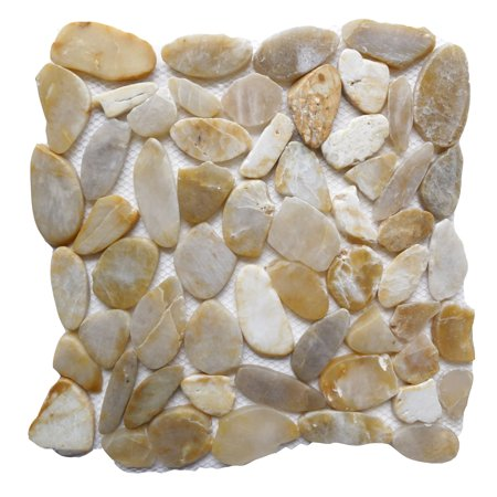 Golden Topaz High Gloss 12 in. x 12 in. Sliced Natural Pebble Stone Floor and Wall Tile (10 sq. ft. / case)
