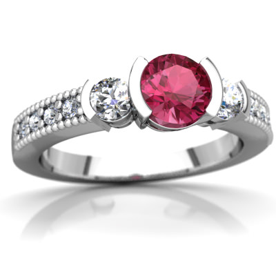 Pink Tourmaline Milgrain Channel Ring in 14K White Gold by