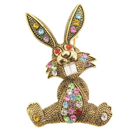 Pin The Tail On The Bunny - Golden Easter Bunny Crystal Brooch Pin