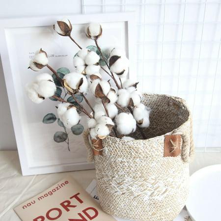 3Pc Naturally Dried Cotton Stems Farmhouse Artificial Flower Filler Floral Decor
