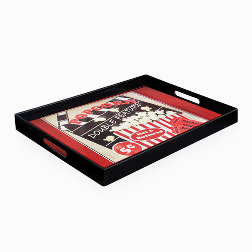 American Atelier Popcorn Double Feature Rectangle Tray with Handles