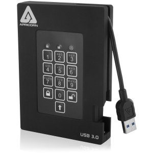 Apricorn Aegis Padlock A25-3PL256-1000F 1 TB External Hard Drive - USB 3.0 - 5400rpm - 8 MB Buffer - Portable USB HDD HW ENCRYPTED
