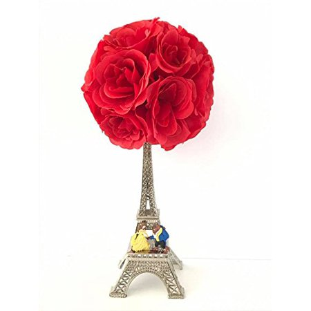 Belle Beauty and The Beast Eiffel Tower with Red Rose Ball Cake Topper Centerpiece