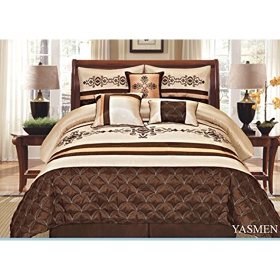 7 Pieces Complete Bedding Ensemble Beige Brown Gold Luxury