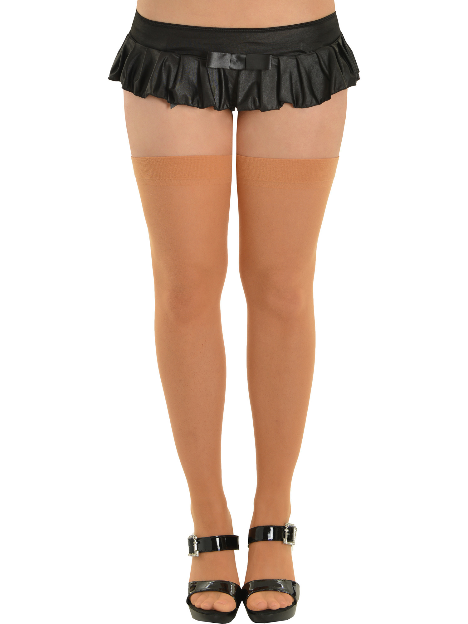 Womens Pink and Black Striped Thigh High Tights Hold Ups Elastic Adult Size NEW