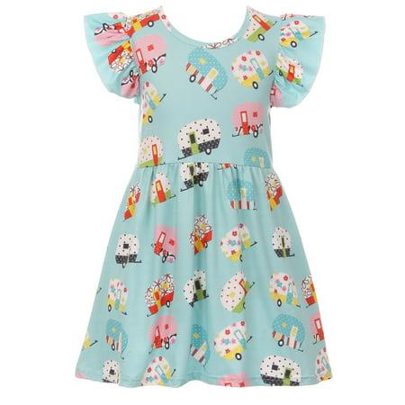 Toddler Girls Cap Sleeve Camping Cotton Party Birthday Flower Girl Dress Blue 2T XS (P600516P)](2t Birthday Dress)