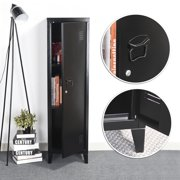 3-Tier Metal Storage Locker Office Filing Cabinet With Lock&Key Black Accent Cabinet Stand