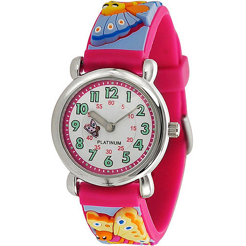 Brinley Co. Girls' Butterfly Design Watch, Silicone Strap