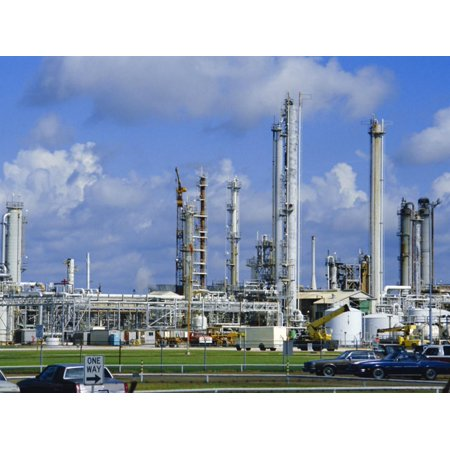 Oil Refinery on Bank of Mississippi Near Baton Rouge, Louisiana, USA Print Wall Art By Anthony
