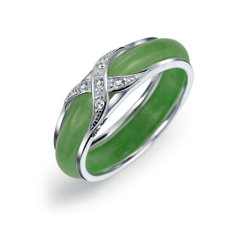 - Pave CZ Criss Cross Cubic Zirconia X Kiss Dyed Green Jade Band Ring For Women For Girlfriend 925 Sterling Silver